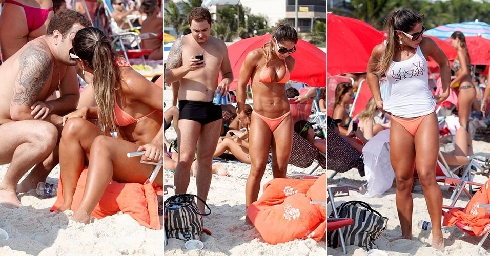 9.mar.2013 - Mayra Cardi curte praia com o marido em praia da Barra da Tijuca, no Rio