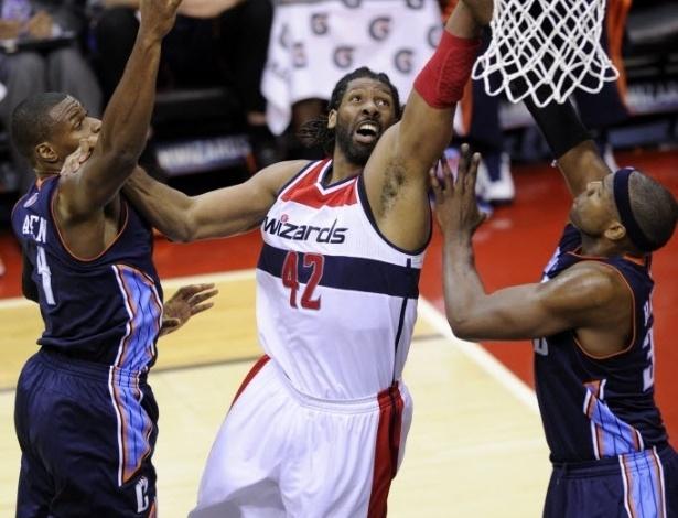 09.mar.2013 - Nenê teve 19 pontos, 8 rebotes 4 assistências na vitória dos Wizards sobre o Bobcats