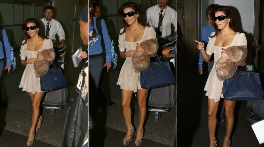 "10.mar.2013 - Eva Longoria desembarcou no aeroporto Internacional do Rio, zona norte da cidade. A atriz é famosa por ter feito parte do elenco do seriado ""Desperate Housewives"""