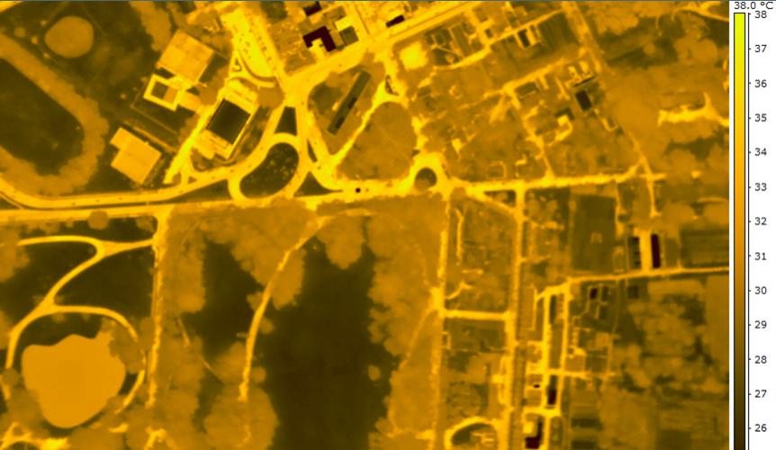 11.mar.2013 - Imagem mostra temperatura na cidade de Piracicaba à noite. Pesquisa da USP identificou que o asfalto faz com que as noites sejam até 5ºC mais quentes