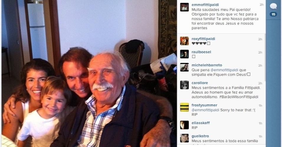 Emerson Fittipaldi divulgou em seu Instagram uma foto ao lado de seu pai, Wilson, que morreu na madrugada desta segunda-feira