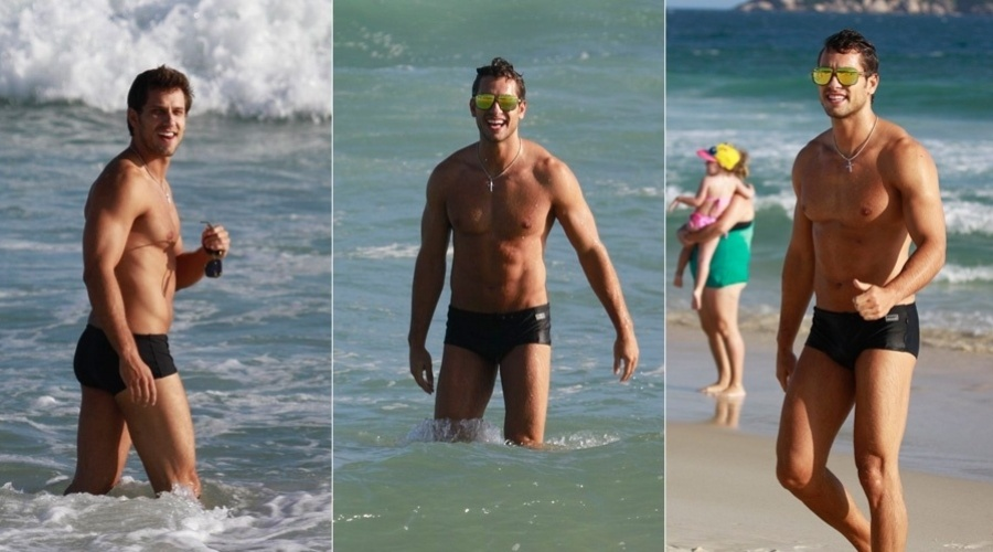 12.mar.2013 - O ex-BBB Eliéser curtiu praia na Barra da Tijuca, zona oeste do Rio