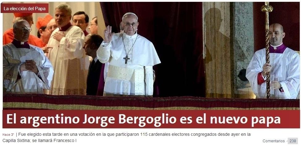 13.mar.2013 - A página do jornal argentino