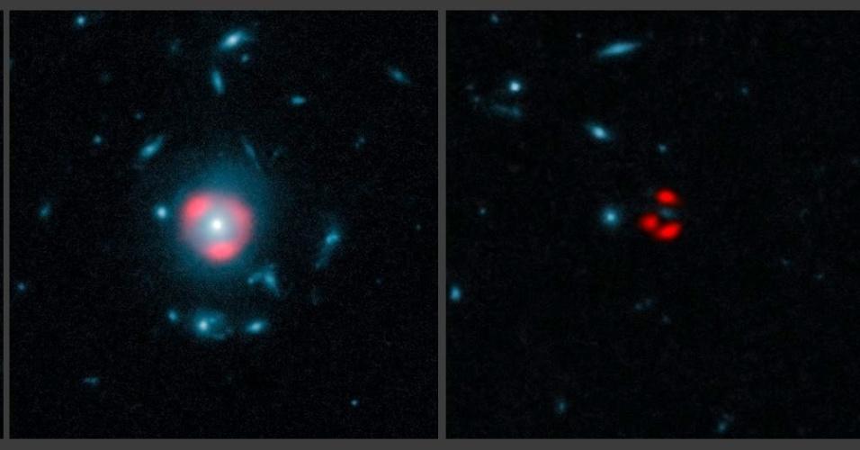 13.mar.2013 - Montagem combina dados do maior observatório astronômico do mundo, o ALMA, com imagens do telescópio Hubble para mostrar cinco galáxias distantes. As imagens do ALMA, em vermelho, mostra galáxias distantes, que são distorcidas por galáxias mais próximas quando são vistas pelo Hubble, em azul