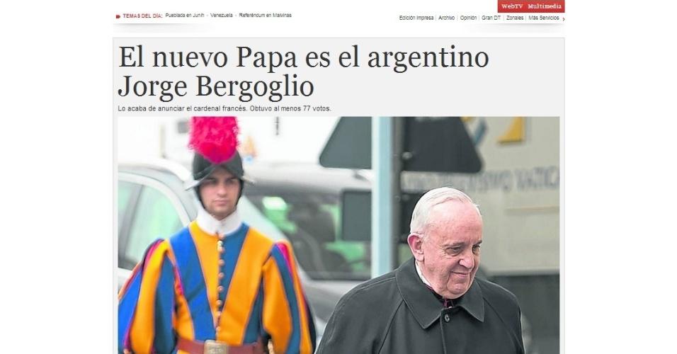 13.mar.2013 - O jornal argentino Clarín destacou na página principal de seu site a escolha do cardeal Jorge Mario Bergoglio, da Argentina, para suceder Bento 16