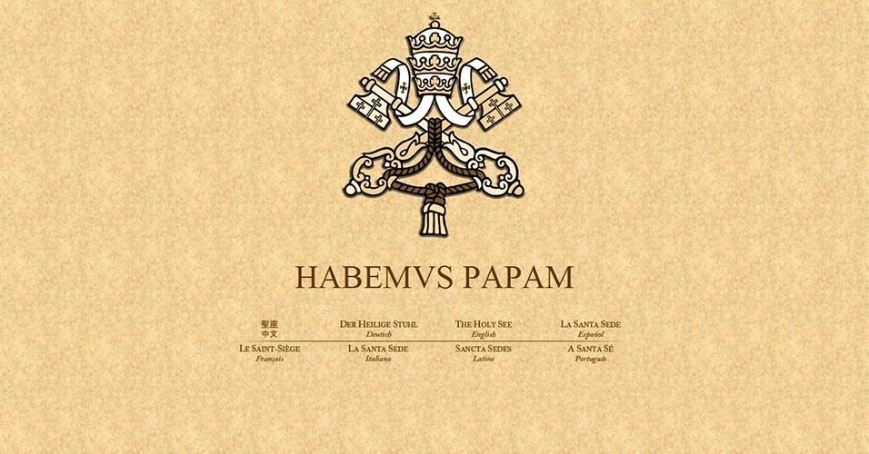 13.mar.2013 - Página oficial do Vaticano traz a famosa frase em latim: