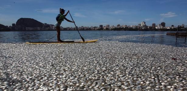 Mulher rema entre os peixes mortos da Lagoa Rodrigo de Freitas na manhã da quarta-feira passada (13)