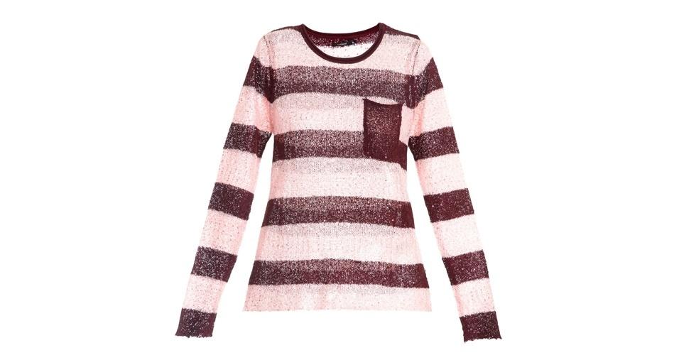Blusa de tricô bicolor com bolso frontal; R$ 159, da Memove