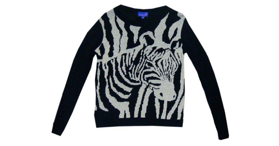 Blusa de tricô com bordado de zebra; da Mary Zaide