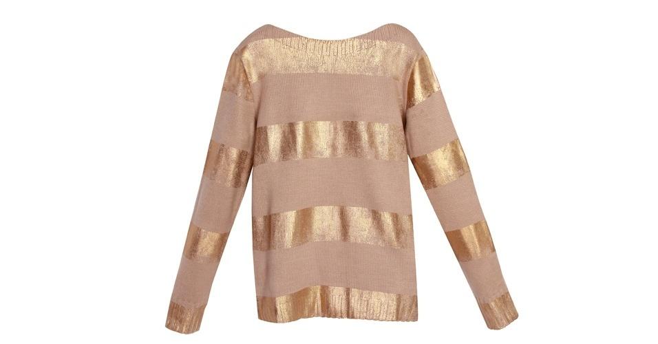 Blusa de tricô com detalhes em spray dourado; da Cholet