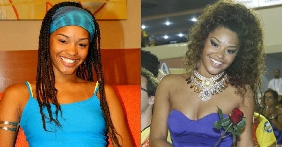 """Também do """"BBB3"""", Juliana Alves  tinha 20 anos na época do reality. Aos 30,  ela abandonou as tranças que usava no programa e é atriz da Globo"""