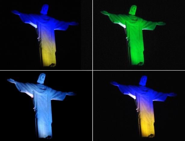 13.mar.2013 - Estátua do Cristo Redentor, no Rio de Janeiro, recebe iluminação de diferentes cores nesta noite
