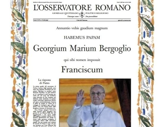 14.mar.2013 - Capa da edição especial do L'Osservatore Romano, jornal oficial do Vaticano, sobre a eleição do novo papa Francisco