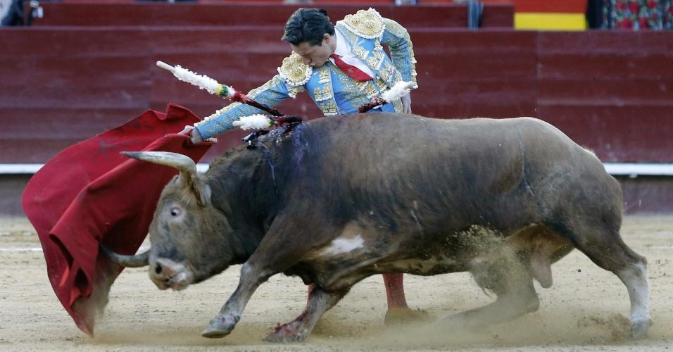 14.mar.2013 - Diego Urdiales desafia o animal durante tourada na cidade de Valencia (Espanha)