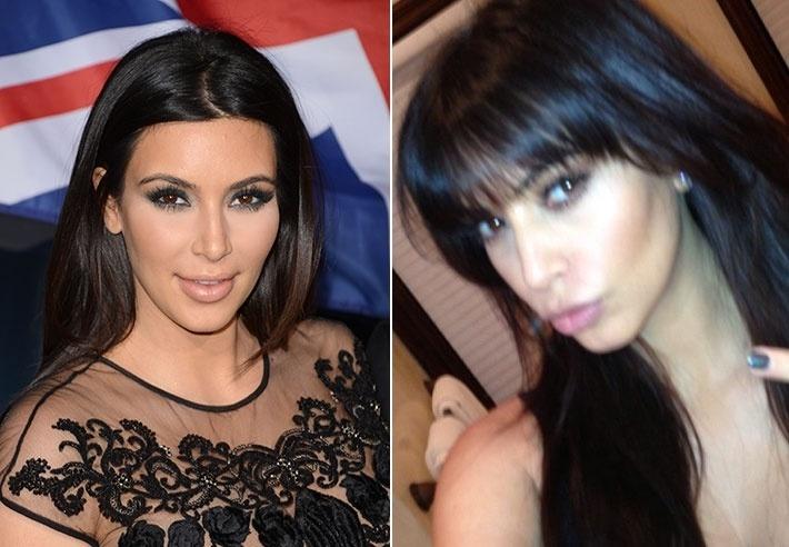 Março: Grávida, Kim Kardashian deu leve repaginada no visual. A socialite compartilhou com os fãs e seguidores uma foto de sua nova franjinha, feita pelo cabeleireiro Philip Wolff.