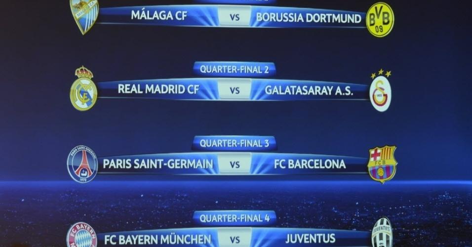 15.mar.2013 - Confrontos das quartas de final da Liga dos Campeões: PSG x Barcelona, Malaga x Borussia Dortmund, Real Madrid x Galatasaray e Bayern x Juventus