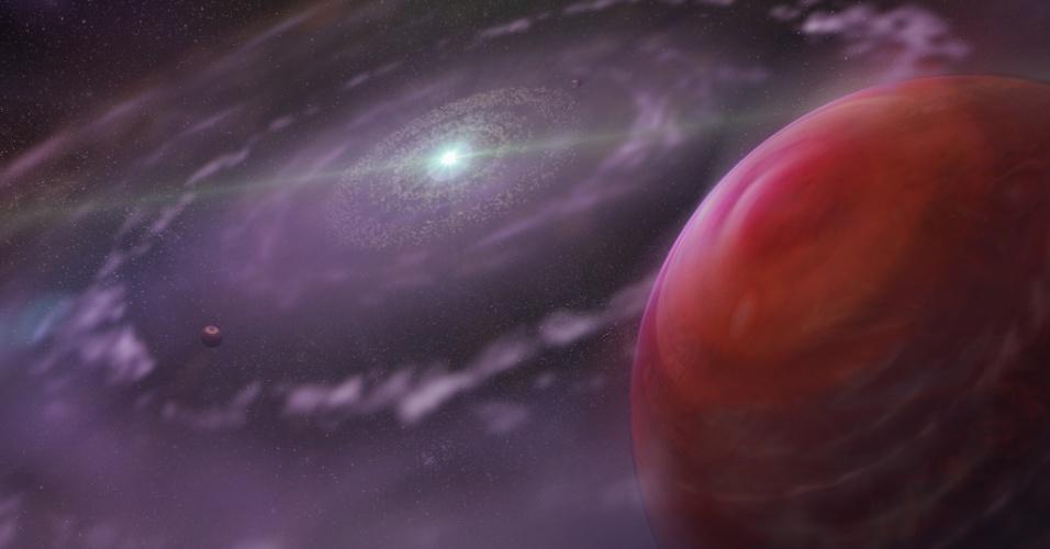 15.mar.2013 - Ilustração artística mostra o sistema planetário HR 8799 em um estágio primordial de sua evolução, mostrando o planeta HR 8799c (direita), um disco de gás e poeira e seus planetas. Um time de astrônomos do Instituto Dunlap de Astronomia & Astrofísica da Universidade de Toronto fizeram o mais detalhado exame da atmosfera do planeta que mais se parece com Júpiter fora do sistema solar. O estudo, publicado na Science, indica que a atmosfera do planeta tem monóxido de carbono e vapor de água