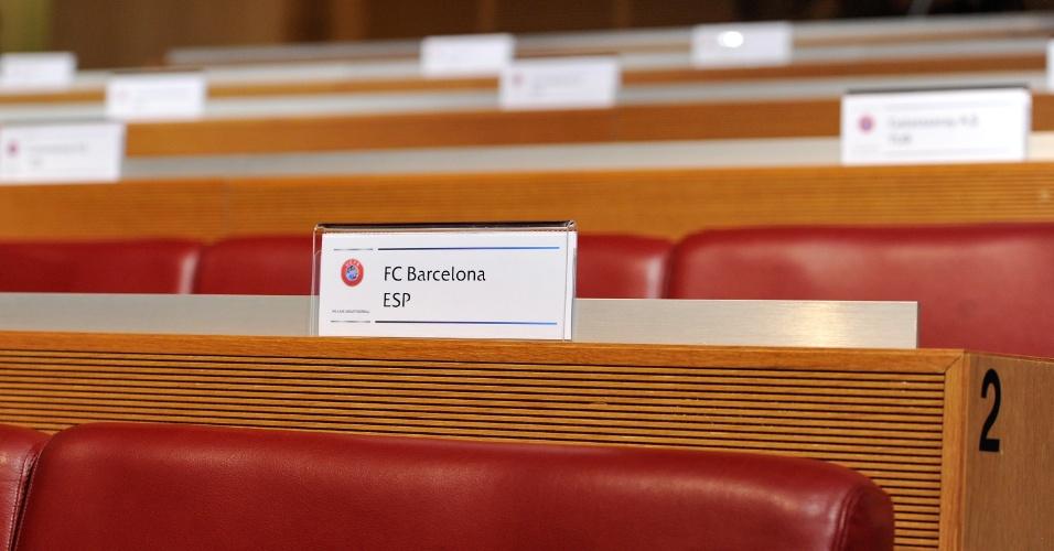 15.mar.2013 - Local em que os representantes do Barcelona ficarão durante o sorteio das quartas de final da Liga dos Campeões