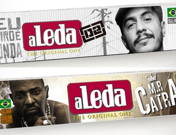 """15.mar.2013 - Marcelo D2 e Mr. Catra, consumidores de cigarros artesanais, ilustram embalagens de papel para fumo, conhecido como """"seda"""", da marca Leda"""