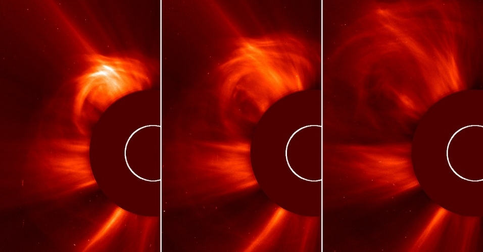 15.mar.2013- Três imagens mostram erupções solares com ejeção de massa coronal em direção à Terra neste dia 15 de março. Um disco é colocado sobre o Sol para melhor ver a corona, a atmosfera em torno do astro. O fenômeno pode enviar bilhões de toneladas de partículas solares o espaço e pode atingir nosso planeta de 1 a 3 dias e afetar o sistema de satélites. As partículas foram emitidas a 1.448 km/s