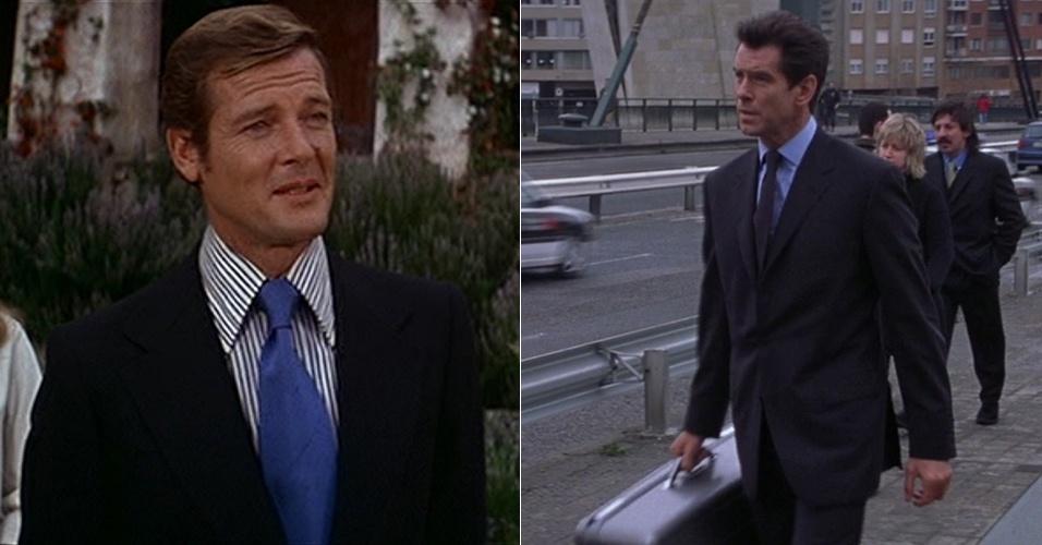 """As diferenças sutis entre os ternos usados em diferentes filmes do 007 podem ser observadas em """"O Espião Que Me Amava"""", em que Roger Moore usa paletó com lapelas mais largas, colarinho pontudo e gravatas com espessura maior, em relação ao terno usado por Pierce Brosnan em o """"O Mundo Não é o Bastante"""" (1999)"""