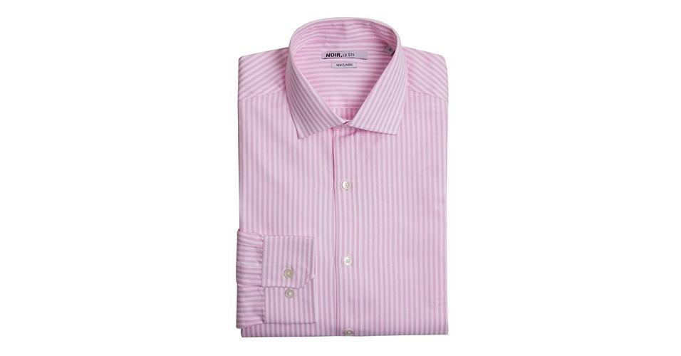 Camisa listrada; R$ 258, na Noir (SAC 0300 7702727). Preço pesquisado em março de 2013 e sujeito a alteração