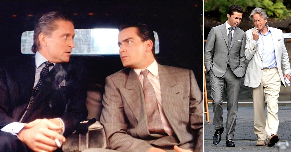 """Em """"Wall Street"""" (1987), Michael Douglas fez sucesso com os ternos caros, suspensórios, camisas azuis de colarinho branco, prendedor de gravata, abotoaduras e o lenço no bolso do paletó. Eram assim que se vestiam os """"yuppies"""" (da sigla """"YUP"""", expressão inglesa que significa """"Young Urban Professional"""", jovem profissional urbano). Na continuação feita em 2010, saem os acessórios, e entra o corte mais rente ao corpo, com uma simplicidade extremamente calculada e elegante"""