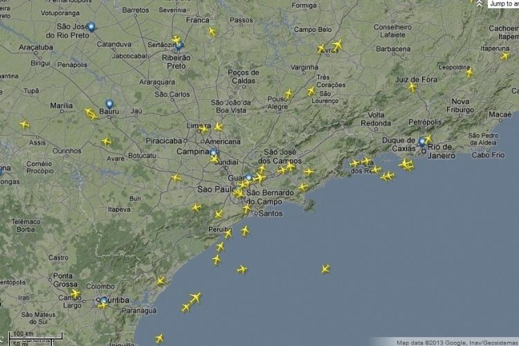 Flightradar24: Monitoramento do tráfego aéreo em tempo real Flightradar24-mostra-aeronaves-sobrevoando-espaco-aereo-do-sul-e-sudeste-brasileiro-1363387884691_750x500