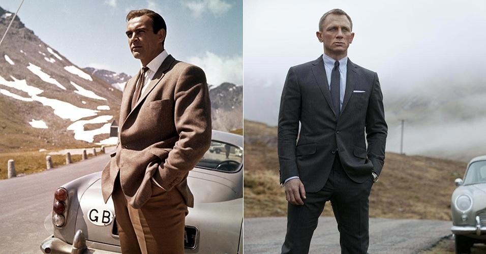 """Nos filmes de James Bond, podemos observar como o terno foi evoluindo de maneira sutil com o passar dos anos. Em """"Goldfinger"""" (1964), Sean Connery usa paletó de dois botões, assim como Daniel Craig em """"Operação Skyfall"""" (2012). Porém o segundo é mais ajustado ao corpo e levemente mais curto. As calças também são mais rentes ao corpo no filme atual em relação ao antigo"""