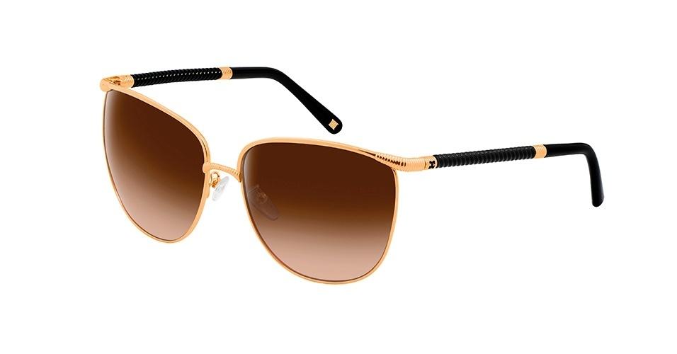 Óculos com aro dourado e lente marrom; R$ 1.175, da Escada, na Wilvale de Rigo (www.wilvale.com.br). Preço pesquisado em março de 2013 e sujeito a alterações