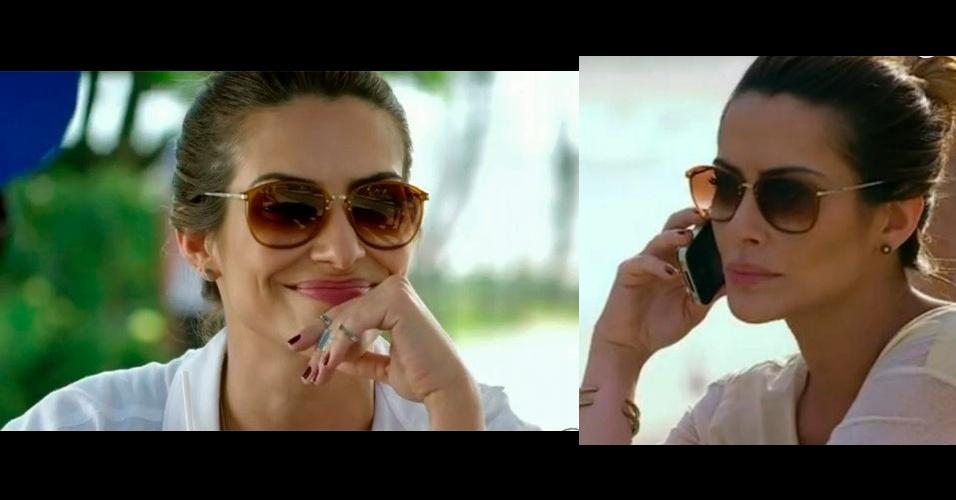 """Os óculos escuros com lentes marrom usado por Bianca (Cléo Pires) em """"Salve Jorge"""" entrou na sétima posição da lista de acessórios mais pedidos da Globo e é da marca Cesare Paciotti (www.cesare-paciotti.com)"""
