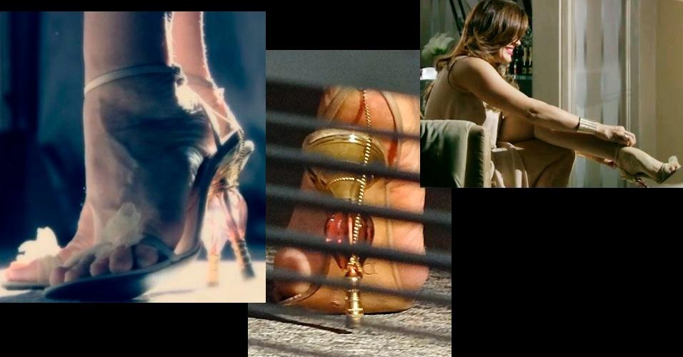 """Pelo segundo mês consecutivo, a sandália usada pela personagem Lívia (Claudia Raia) na novela """"Salve Jorge"""" foi o item de figurino mais pedido pelo público da Globo. A peça pertence ao acervo pessoal da atriz Claudia Raia, é da marca francesa Dior e não está a venda no Brasil. A corrente dourada foi acrescentada pela equipe de figurino da novela"""