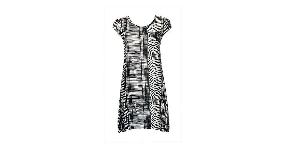 Vestido com diferentes tipos de listras em branco e preto; R$ 249, na Blow-up (Tel.: 11 3081-2447). Preço pesquisado em março de 2013 e sujeito a alterações