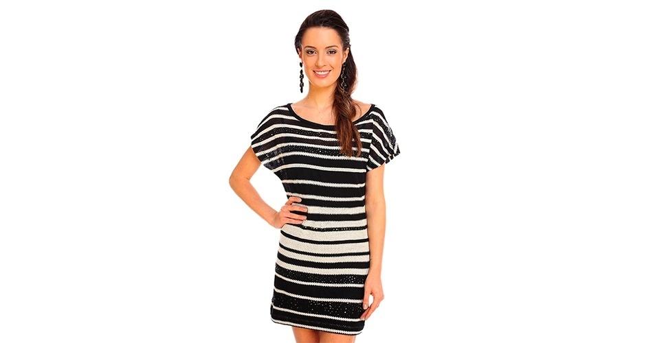 Vestido com listras em diferentes larguras; R$ 148,95, da Espaço Fashion, na Lets (www.uselets.com.br). Preço pesquisado em março de 2013 e sujeito a alterações