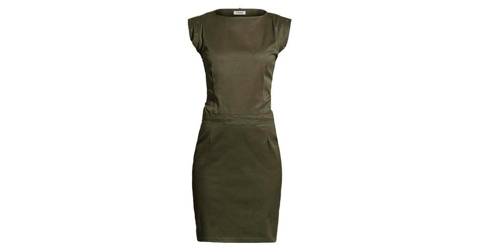 Vestido verde militar; R$ 129,99, da Quintess, na Posthaus (www.posthaus.com.br). Preço pesquisado em março de 2013 e sujeito a alterações