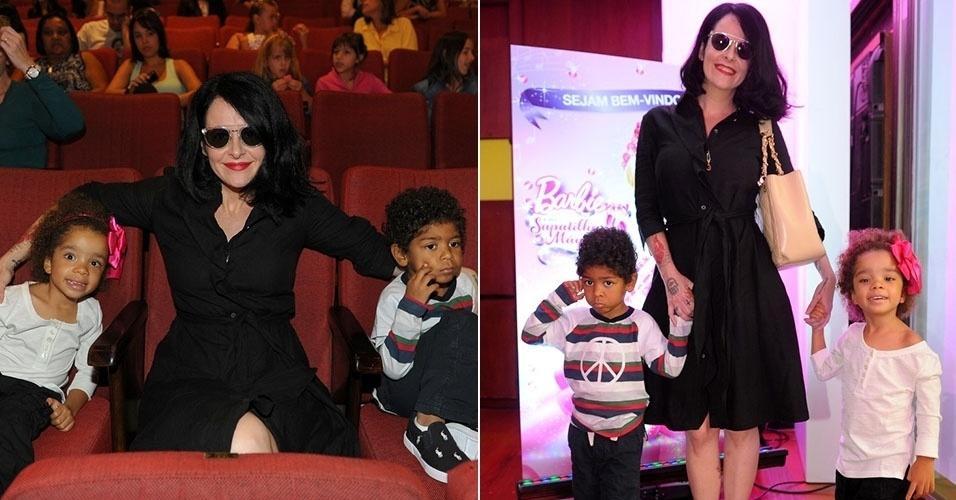 """16.mar.2013 - A apresentadora Fernanda Young leva os filhos na première do DVD """"Barbie, As Sapatilhas Mágicas"""", no Teatro Folha em SP"""