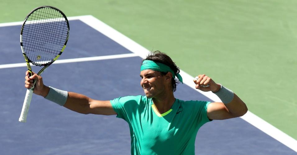 16.mar.2013 - Nadal comemora vitória sobre Berdych no Masters de Indian Wells
