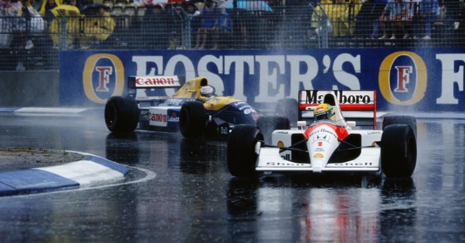 Ayrton Senna guia à frente de Nigel Mansell no GP da Austrália de 1991