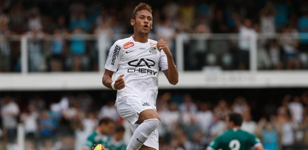 Neymar comemora depois de fazer boa jogada e dar assistência para o gol de André