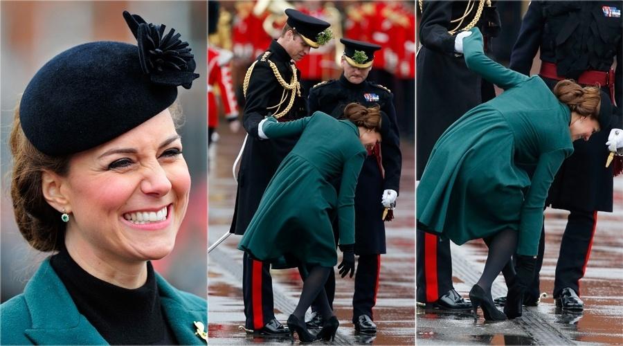 17.mar.2013 -  Kate Middleton fica presa pelo salto do sapato durante parada pelo Dia de São Patrício na Inglaterra