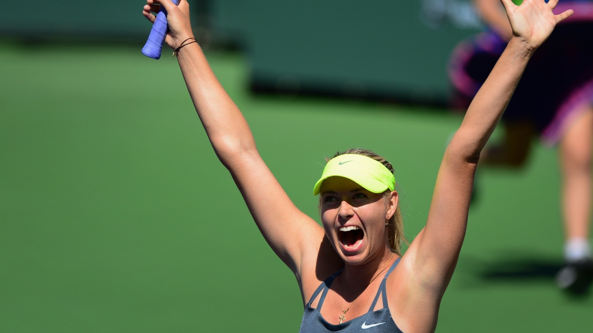 17.mar.2013 - Maria Sharapova comemora vitria no Masters 1000 de Indian Wells