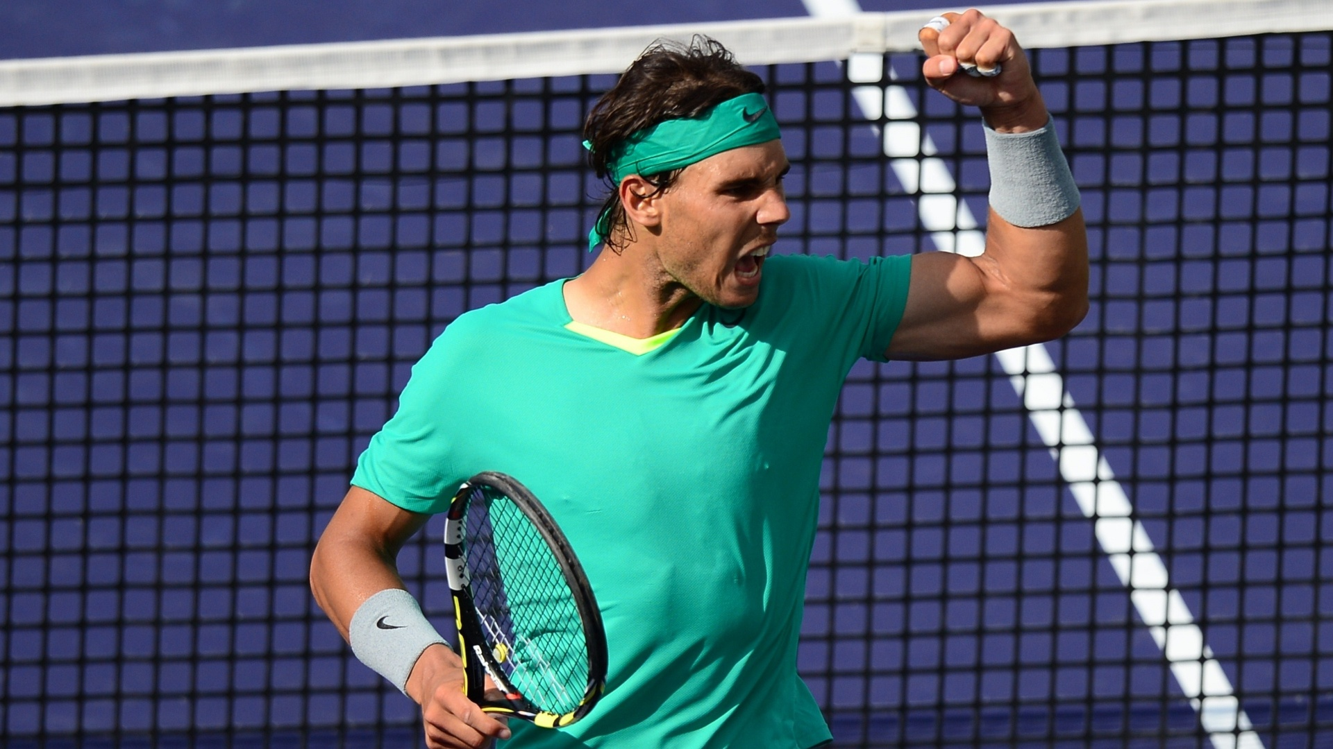 17.mar.2013 - Nadal vibra durante final em Indian Wells