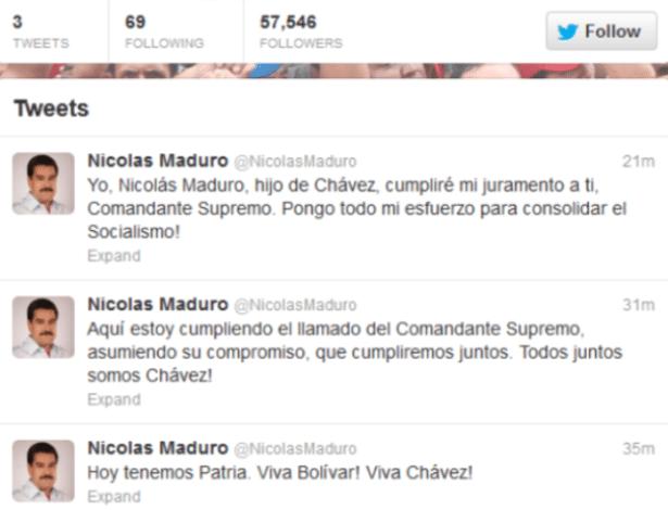 17.mar.2013 -  O presidente interino da Venezuela e candidato governista, Nicolás Maduro, abriu uma conta no Twitter, neste domingo (17).  Maduro também terá contas na rede social Facebook e no canal de vídeos YouTube. Os venezuelanos votarão por um novo presidente no dia 14 de abril entre Maduro e o líder opositor Henrique Capriles, derrotado por Chávez nas eleições de 7 de outubro