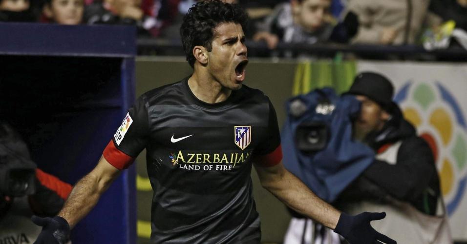 Convocado para seleção brasileira, o atacante Diego Costa marcou os dois gols do Atlético de Madri contra Osasuna