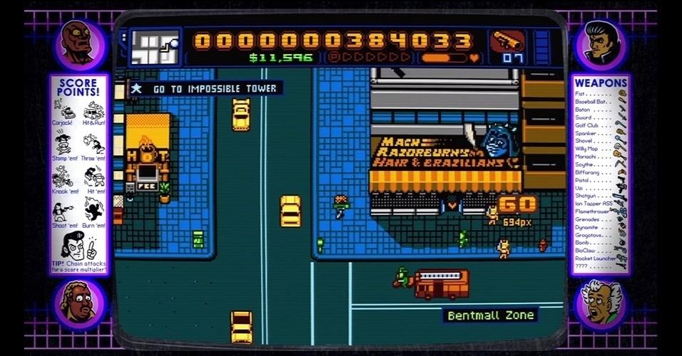 """100% preenchido com referências pop, """"Retro City Rampage"""" (PC/PS3/X360/PSVita/Wii) é uma espécie de """"GTA"""" 2D feito no estilo pixel art."""