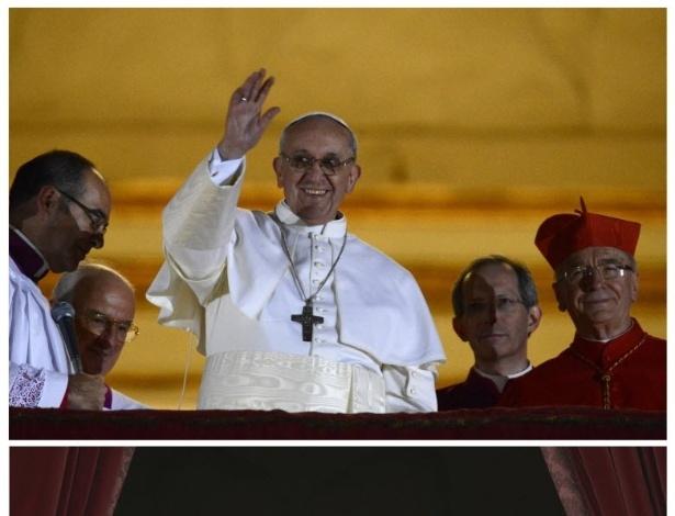 18.mar.2013 - Imagens do papa Francisco (em cima) no Vaticano, confrontadas com as de seu antecessor, o papa emérito Bento 16. Franciscano, o novo Sumo Pontífice adota um estilo mais humilde que o papa anterior