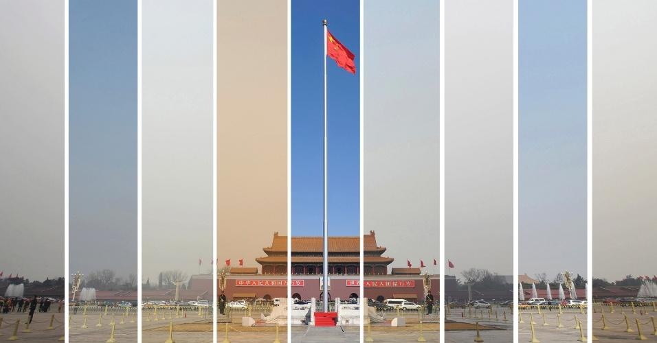 """18.mar.2013 - Os níveis de poluição do ar sobre a praça Tiananmen, em Pequim, variaram bastante entre os dias 6 e 15 de março, data do Congresso Nacional do Povo. Na foto, um mosaico mostra as diferenças.  O primeiro-ministro chinês Li Keqiang disse no domingo (17) que o seu governo vai """"mostrar determinação ainda maior"""" no combate à poluição, uma fonte de crescente descontentamento público"""