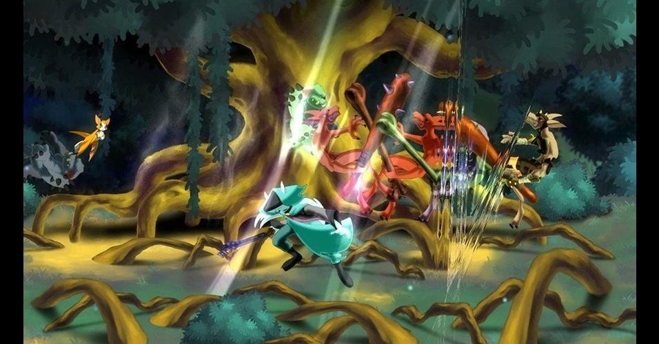 """Animais antropomorfizados são os heróis e vilões do belo game de ação """"Dust: An Elysian Tail"""" (X360)."""