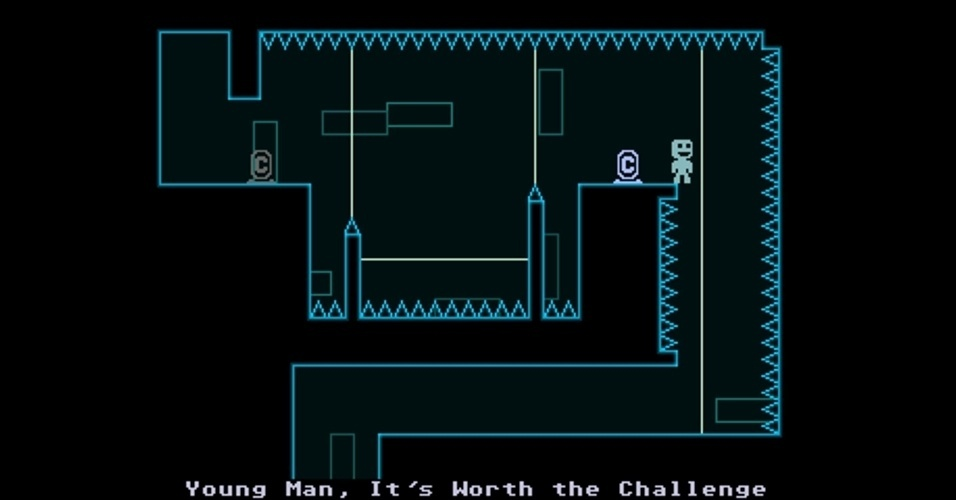 """Brincando com a gravidade, o herói de """"VVVVVV"""" (PC/3DS) deve passar por desafios extremos para resgatar seus amigos."""