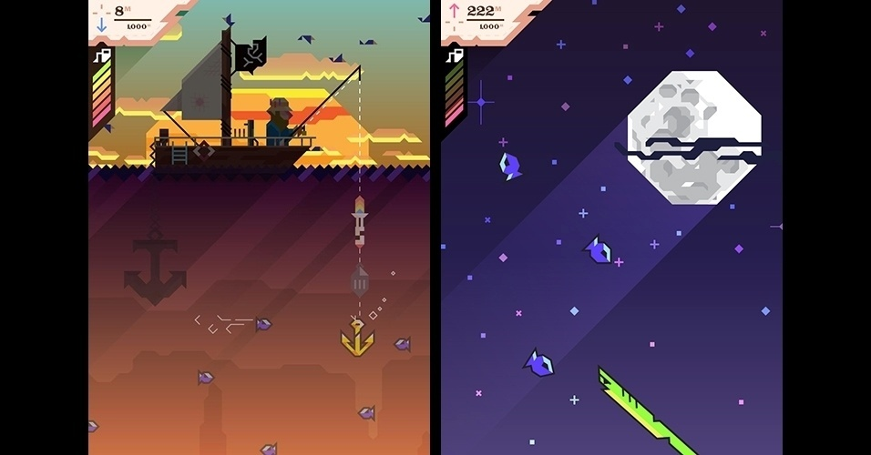 """Com gráficos no estilo pixel art, """"Ridiculous Fishing"""" (iOS) é um jogo de pesca diferenciado em que os peixes podem ser usados como chapéus."""